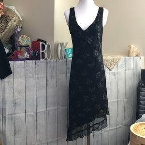 City Triangles Lg Hi-Low Black Flower Dress *60A*